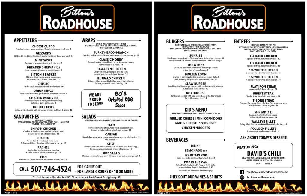 Bitton's Roadhouse Menu