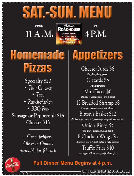 Saturday-Sunday Appetizer and Pizza Menu
